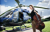 Laura Moody, Natalia's student, and a member of the Elysian Quartet, prepares to board for the Helicopter String Quartet by Stockhausen. Picture from the Classical Music magazine