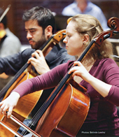 Alisa Lyubarskaya, Natalia's student, leads the cello section at the Southbank Sinfonia, London Picture from The Strad Magazine
